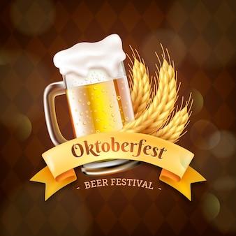 Realistisches oktoberfest-banner mit einem halben liter bier