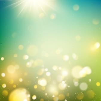 Realistisches outdoor-bokeh in grün- und gelbtönen mit sonnenstrahlen.