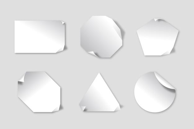 Realistisches papieraufkleberpaket