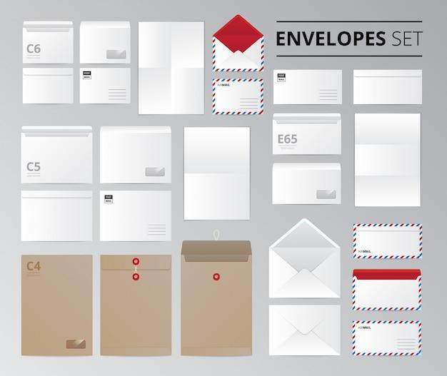 Realistisches papierbüroumschlagdokumentenbriefesatz lokalisierte bilder mit schablonen für unterschiedliche blattgrößenvektorillustration