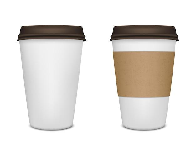 Realistisches papierkaffeetassen-set.