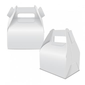 Realistisches papierkuchenpaket, satz weiße schachtel, geschenkbehälter mit griff. lebensmittelbox wegnehmen