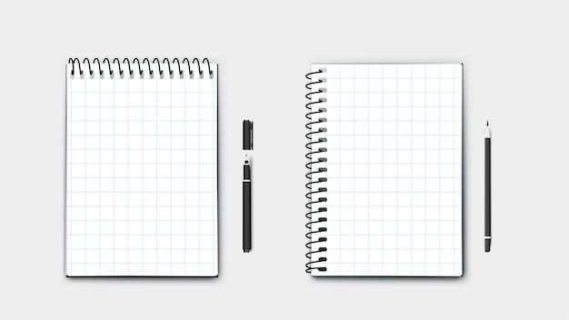 Realistisches perfektes notizbuch im format a4, horizontal und vertikal mit stift und bleistift. auf blauem hintergrund moderne illustration isoliert.