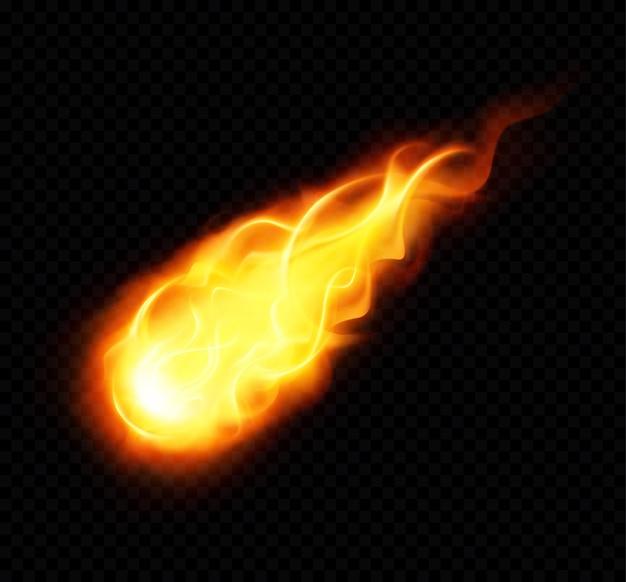 Realistisches plakat des feuerballs mit dem brennenden gelben fliegenden astronomischen objekt auf schwarzem hintergrund