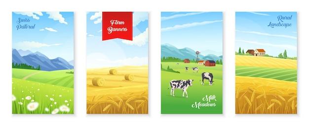 Realistisches plakatset mit milchfarmen und weizenfeldern