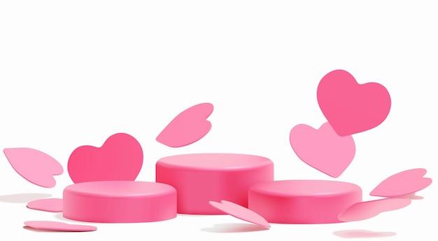 Realistisches podium der rosa herzen für produktpräsentation zum valentinstag