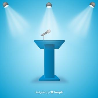 Realistisches podium für blauen hintergrund der konferenz