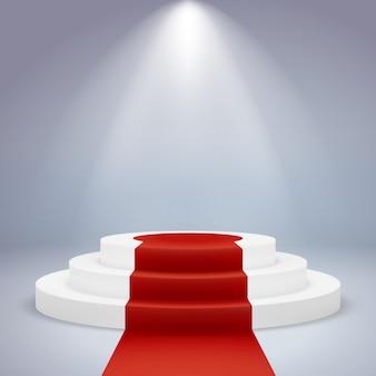 Realistisches podium. sockel roter teppich