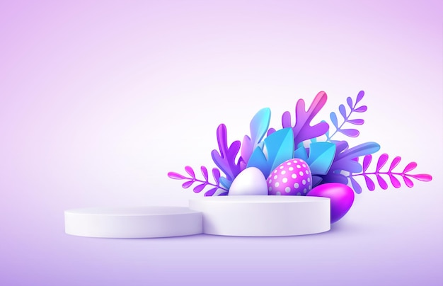 Realistisches produktpodest mit ostereiern und fantastischen tropischen blättern