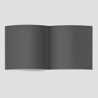 Realistisches quadratisches geöffnetes schwarzes buchmodell