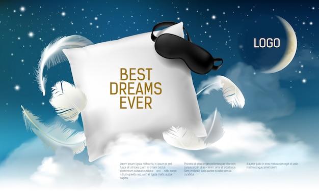 Realistisches quadratisches kissen 3d mit augenbinde auf ihm für die besten träume überhaupt