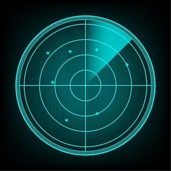 Realistisches radar bei der suche. radarschirm mit den zielen. lager illustration.