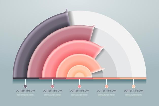 Realistisches radiales infografikkonzept