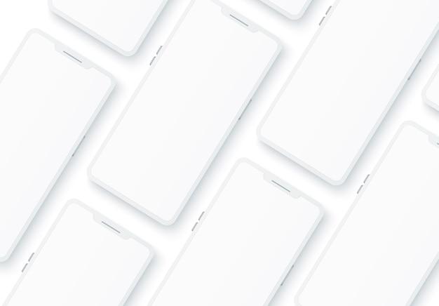 Realistisches rahmenloses weißes smartphone-muster.