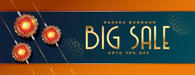 Realistisches raksha bandhan großes verkaufsbanner mit rakhi-design