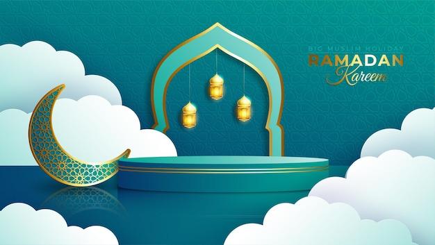 Realistisches ramadan-kareem-banner mit 3d-podium