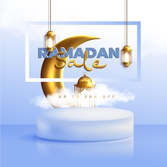 Realistisches ramadan kareem verkaufsbanner mit 3d-podium und rabattrahmen