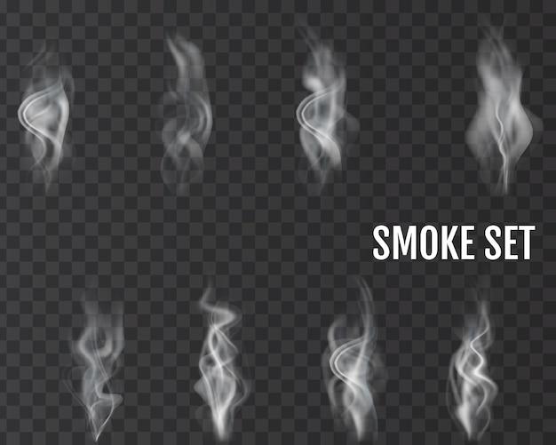 Realistisches rauchtransparentes set.