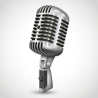 Realistisches retro-design eines einzelnen silbernen mikrofons mit schwarzem schalter