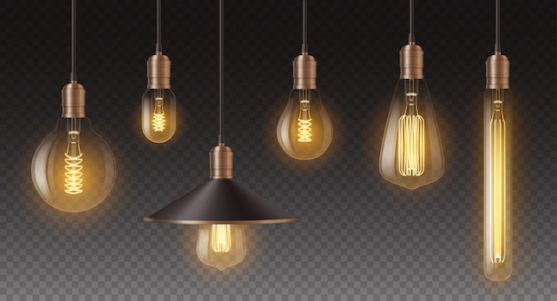 Realistisches retro-glühbirnen-set