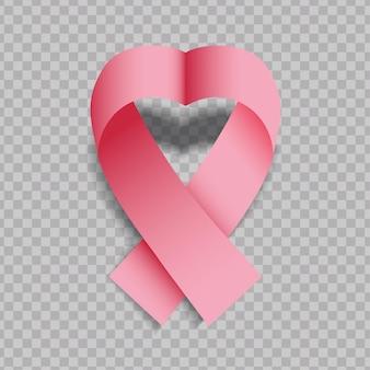 Realistisches rosa herzförmiges band lokalisiert auf transparentem hintergrund. brustkrebs-bewusstseins-symbol.