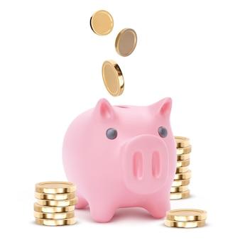 Realistisches rosa sparschweinschwein lokalisiert auf weißem hintergrund. sparschwein mit münzen, finanziellen ersparnissen und bankenwirtschaft, langfristige einlageninvestitionen. illustration