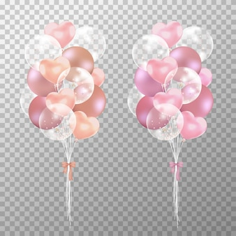 Realistisches rosafarbenes gold und rosafarbene ballone