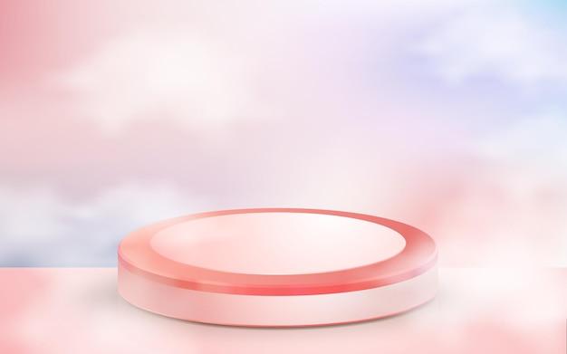 Realistisches rosafarbenes podium mit 3d-ballon für liebesanzeigeprodukt