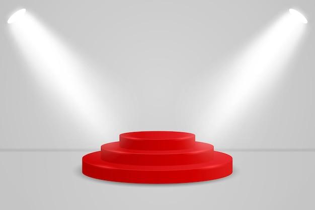 Realistisches rotes rundes anzeigepodestmodell. minimale szene mit zylinderplattform und scheinwerfern für die produktausstellung. illustration des sockels für weihnachtsgeschenk oder valentinstaggeschenk.