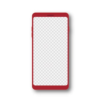 Realistisches rotes smartphone 3d-handymodell mit transparentem bildschirm vektor-illustration