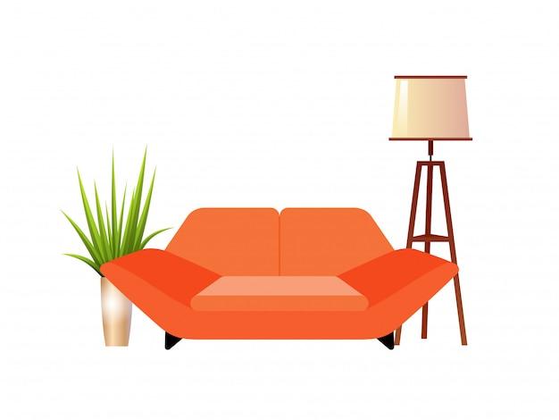 Realistisches rotes sofa mit innenvektorillustration der stehlampe und des blumentopfs.