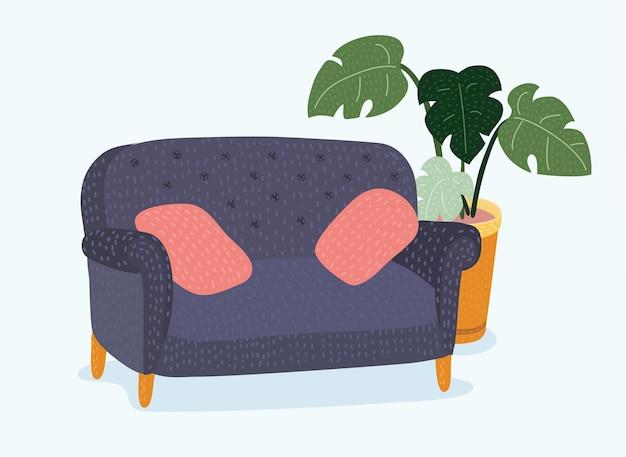 Realistisches rotes sofa mit weißen kissen und rahmen und topf mit pflanzenvektorillustration