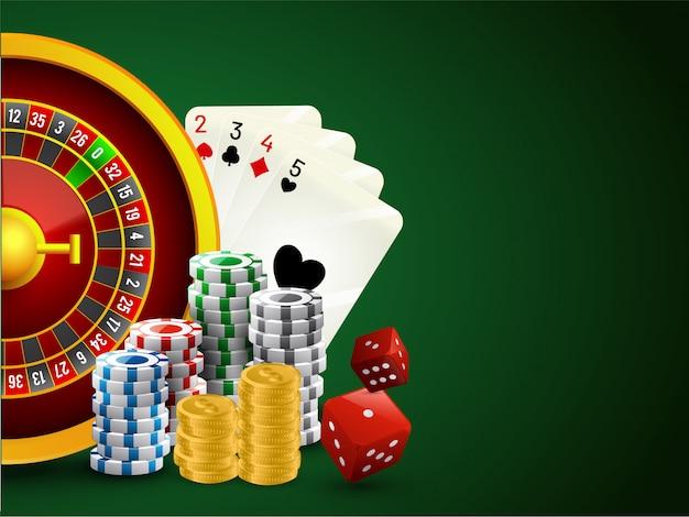 Realistisches rouletterad mit pokerchips, würfel, spielkarte.