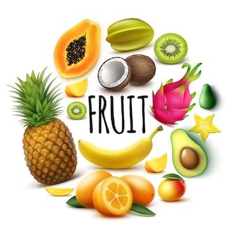 Realistisches rundes konzept der frischen exotischen früchte mit bananenananas-papaya-kokosnuss-mango-kumquat-avocado-guave-karambola-kiwi-drachenfrucht isoliert