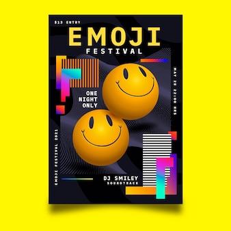 Realistisches säure-emoji-plakat