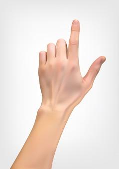 Realistisches schattenbild 3d der hand mit einem zeigefinger, der entweder das drücken anzeigt