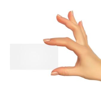 Realistisches schattenbild 3d der hand mit geschenkgutschein-schablone