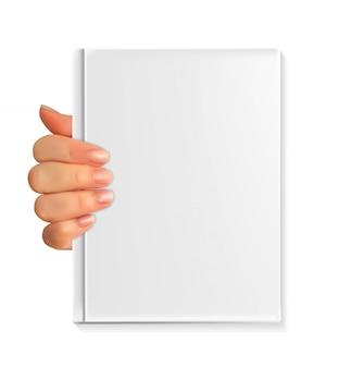 Realistisches schattenbild 3d der hand mit leerem weißbuch