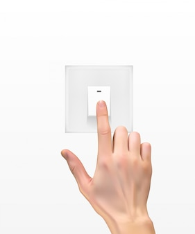 Realistisches schattenbild 3d der hand mit lichtschalter