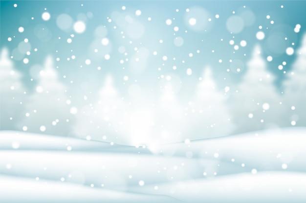Realistisches schneefallhintergrundkonzept