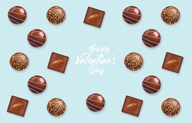 Realistisches schokoladenset, köstliche dessertliebe, schokoladenpralinenkollektion von oben, schwarzweiss-schokolade, valentinstag.