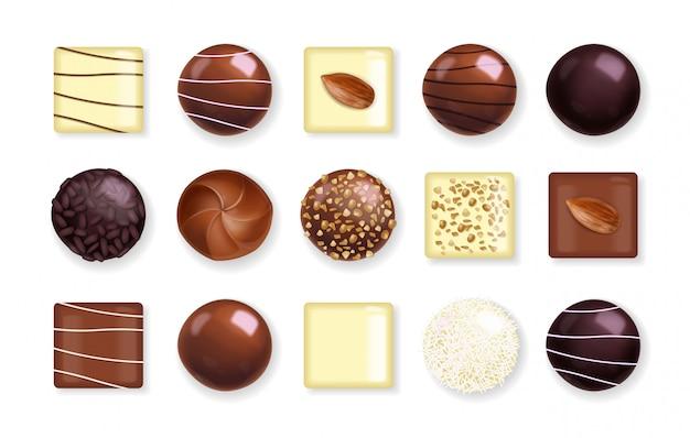Realistisches schokoladenset, köstliche dessertschokoladenpralinen-sammlung, schwarzweiss-schokoladenillustration