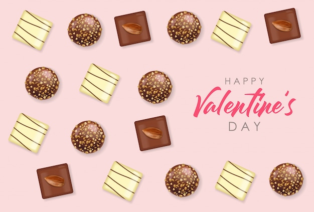 Realistisches schokoladenset, köstliches dessert, liebe, schokoladenpralinen-sammlung von oben, illustration