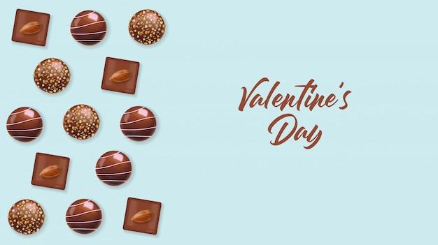 Realistisches schokoladenset, köstliches dessert, schokoladenpralinen-sammlung von oben, schwarzweiss-schokolade