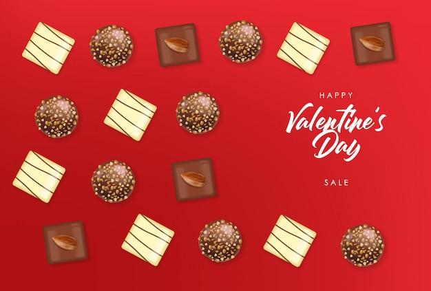 Realistisches schokoladenset, köstliches dessert, valentinstag, liebe, schokoladenpralinen-sammlung von oben, schwarzweiss-schokolade