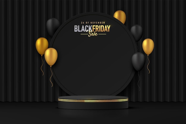 Realistisches schwarz-goldenes 3d-zylinderpodest mit luxuriösen schwarzen und goldenen ballons, die fliegen