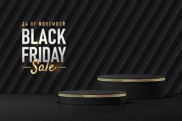 Realistisches schwarz-goldenes 3d-zylinderpodest-podest mit schrägem dunklem rechteckhintergrund