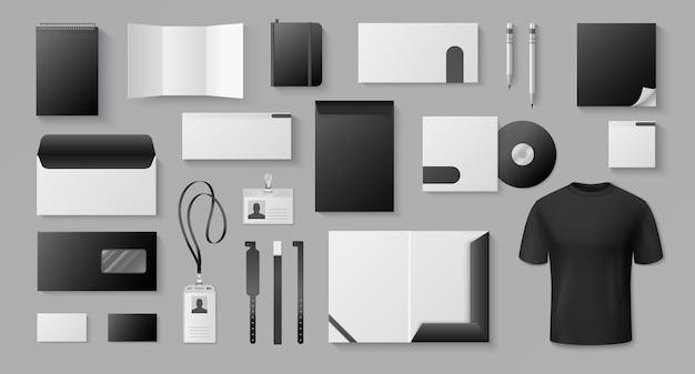 Realistisches schwarz. unternehmensmarke visitenkarte brief briefpapier leere 3d-dokumente broschüren.