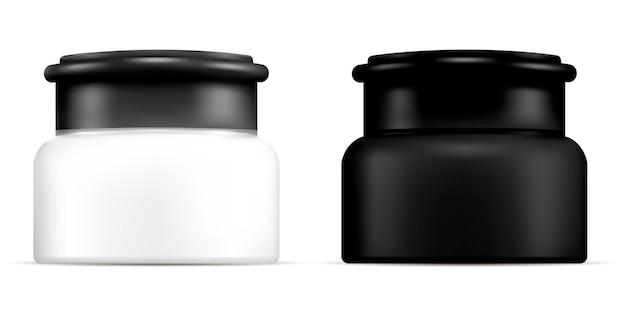 Realistisches schwarz-weiß-kosmetikglas-set.