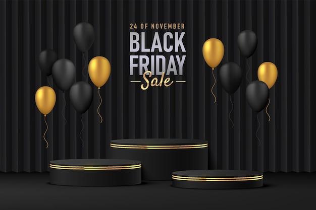 Realistisches schwarzes 3d-zylinderpodest-podest mit luxuriösen schwarzen und goldenen ballons, die fliegen
